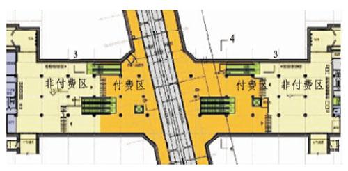 2号线为地下1层浅埋侧式站台车站,4号线为地下2层岛式站台,两线十字